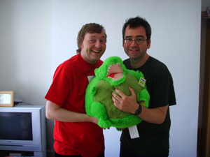 (l to r) Mr Steve Hewitt, A Squishable T Rex, Mr MJ Hibbett