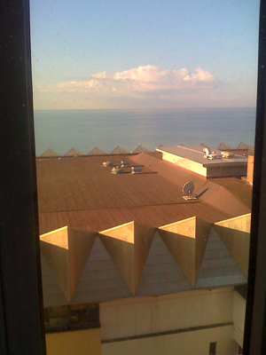 Sea view from Brighton Travelodge the next morning.