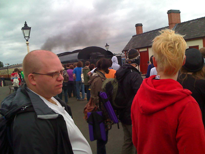 The crowd waiting to get into the carriage for my set at Indietracks.